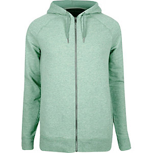 Green marl zip though hoodie