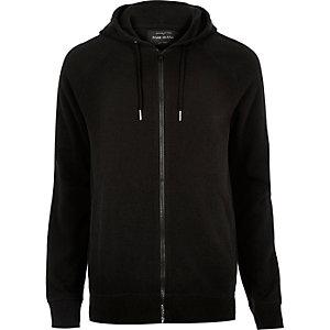 Black ribbed hoodie