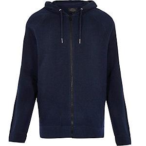 Navy ribbed hoodie