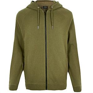 Khaki ribbed hoodie