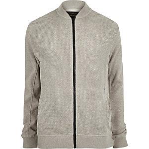 Grey marl waffle bomber jacket