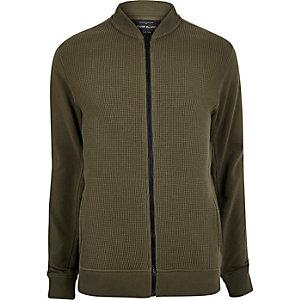 Khaki waffle bomber jacket