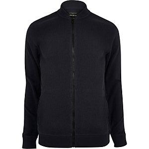 Blue texture bomber jacket