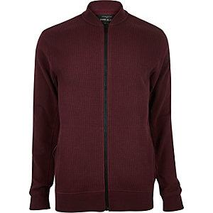 Dark red waffle bomber jacket