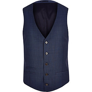 Blue slim suit vest