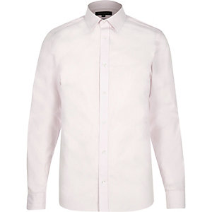 Light pink smart stripe slim fit shirt