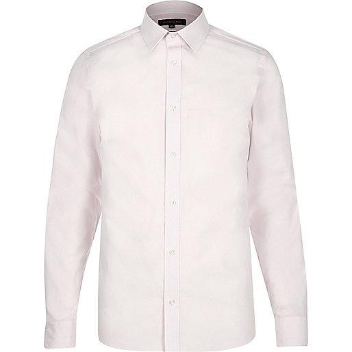 Schmales, gestreiftes Hemd in Hellrosa