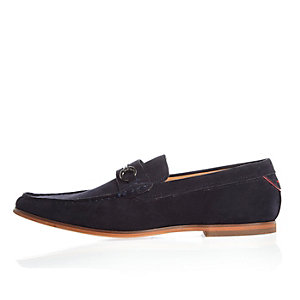 Navy blue snaffle loafers