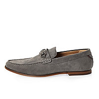 Grey snaffle loafers