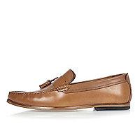 Hellbraune Loafer aus Leder