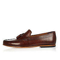 Dark brown leather tassel loafers
