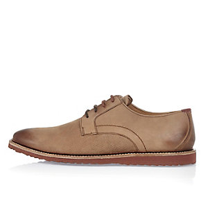 Brown embossed leather shoes