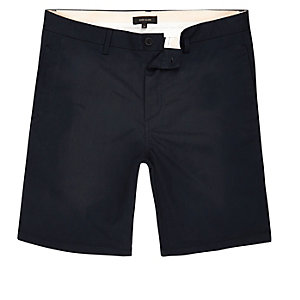 Navy smart chino shorts