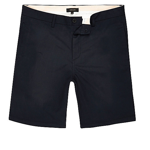 Navy slim fit chino shorts