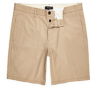Brown slim fit chino shorts