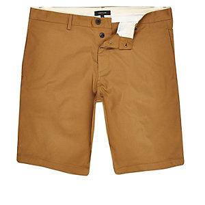 Brown slim fit chino shorts