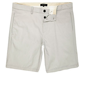 Grey slim chino shorts