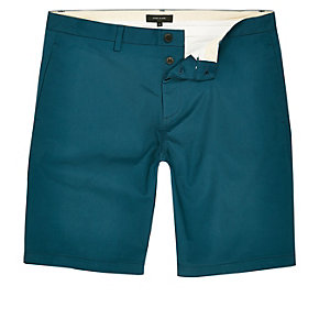 Turquoise slim fit chino shorts