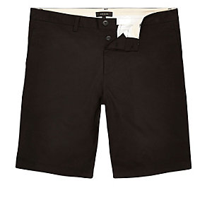Black slim knee length shorts