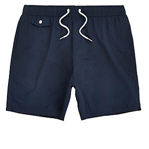 Navy pocket swim shorts