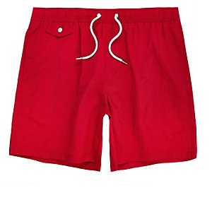 Red pocket swim shorts