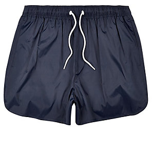 Navy plain swim trunks