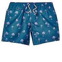 Short de bain imprimé palmiers bleu