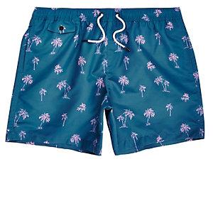 Blue palm tree print swim shorts