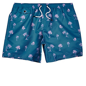 Blue palm tree print swim shorts