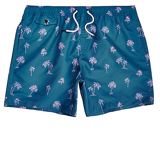Blue palm tree print swim trunks