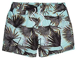 Green palm tree print swim shorts