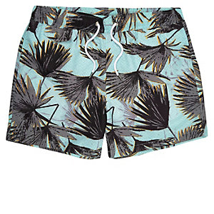 Green palm tree print swim trunks