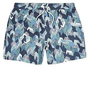 Navy patterned swim shorts