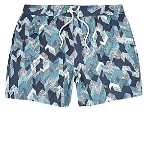 Navy patterned swim trunks
