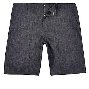 Blue textured bermuda shorts