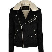 Black faux suede fleece biker jacket