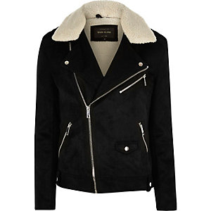 Black faux suede fleece biker jacket