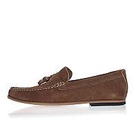 Brown suede tassel loafers