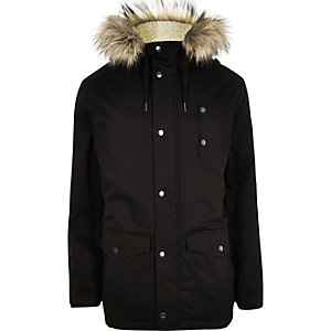 Black faux fur hooded parka coat