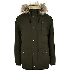 Green faux fur hooded parka coat