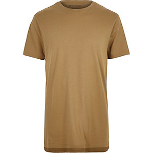 Light brown marl longline T-shirt