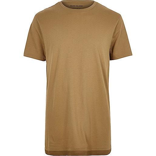 Langes, hellbraun meliertes T-Shirt