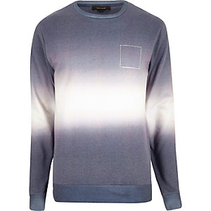 grey faded box chest print sweatshirt