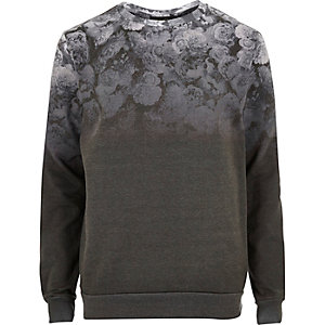 Grey faded floral print sweatshirt