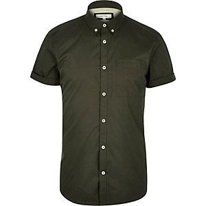 Green twill short sleeve shirt
