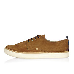 Tan suede minimal lace-up sneakers