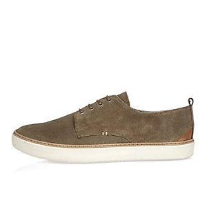 Dark beige suede minimal lace-up trainers