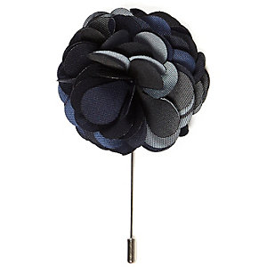 Navy large flower lapel pin