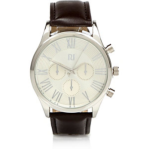 Dark brown Roman numeral watch