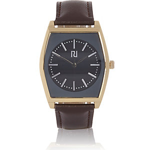 Dark brown '70s retro watch